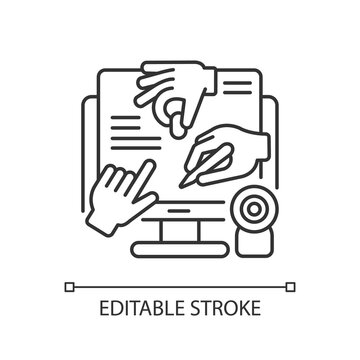 All hands meeting linear icon. Online collaborative project. Work together in internet. Thin line customizable illustration. Contour symbol. Vector isolated outline drawing. Editable stroke
