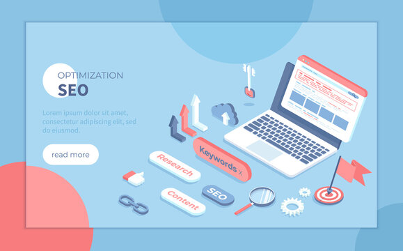 Search Engine Optimization, Keyword Research. Search engine results page on the laptop screen. Isometric vector illustration for presentation, banner, website.