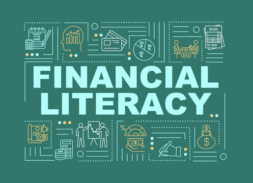 Financial literacy word concepts banner. Graphics, chart, compound interest. Infographics with linear icons on green background. Isolated typography. Vector outline RGB color illustration