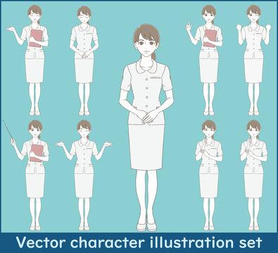 医療・美容 手描き風 白い制服を着た女性の全身イラストセット