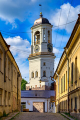 Vyborg, Russian Federation/ September 10, 2020; Vyborg Clock Tower. Belfry of the Vyborg Cathedral