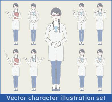 医療・医者手描き風 白衣を着てメガネをかけた女性医師の全身イラストセット
