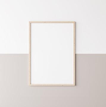 Mockup poster frame, vertical wooden frame on beige and white wall, 3d render
