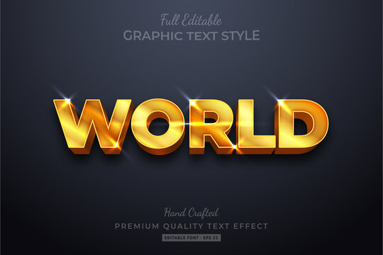 World Gold Editable 3D Text Style Effect Premium