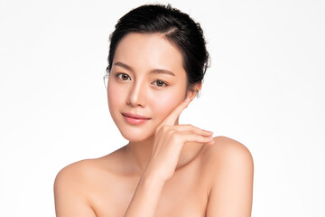 Beautiful young asian woman with clean fresh skin on white background, Face care, Facial treatment,...