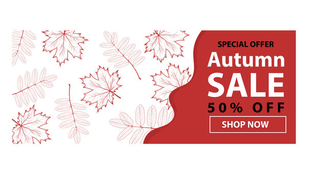 Autumn sale text banners for September shopping promo or autumnal shop discount. Vector maple and oak acorn leaf foliage, mushroom and berry for discount design of leaflet or web banner