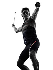 one young caucasian athlete man practicing Javelin athletics in studio isolated on white background
