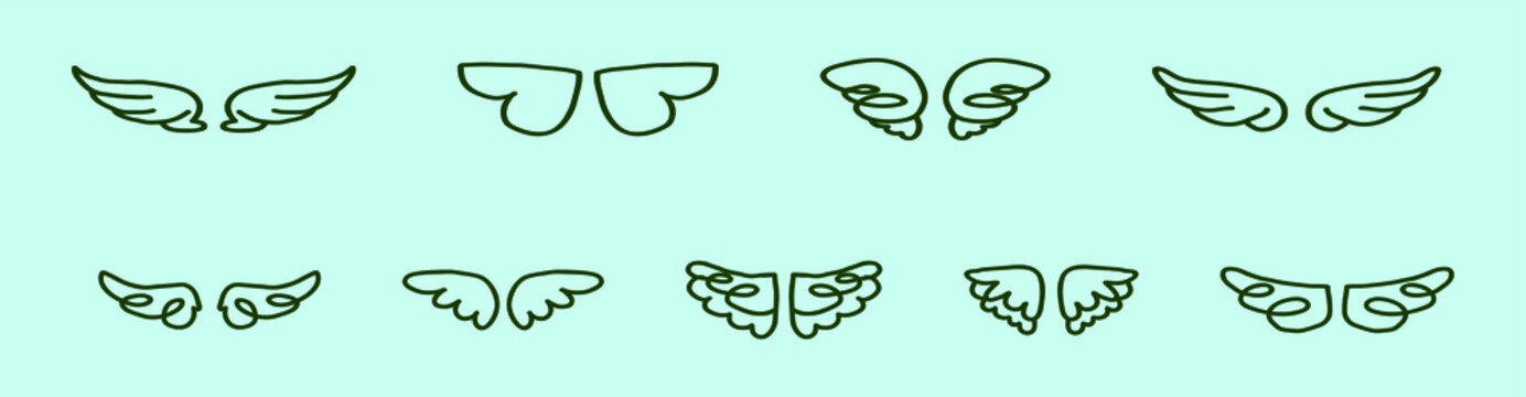 set of angle wings cartoon icon design template with various models. vector illustration