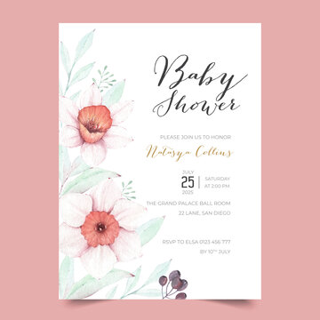 Lovely Baby Shower Invitation design template with daffodil flowers