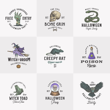 Vintage Style Halloween Logos or Labels Template Set. Hand Drawn Witch, Scull, Zombie Arm, Rat, Fortune Teller Ball and Magic Reptiles Sketch Symbols Collection. Retro Typography.