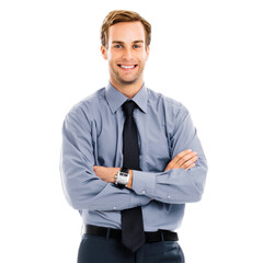 Portrait image of happy smiling businessman, standing in crossed arm pose, isolated over white...