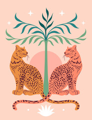 Cute Leopards, Sun, palm tree. Modern abstract art. Boho style. Mid Century print. Cosmic minimalistic scene. Protect wild animals poster. Magic concept. Vintage inspired art нтернета