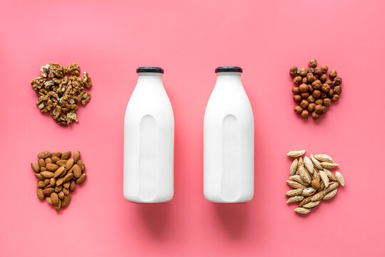 Top view of non-dairy lactose free milk with nuts