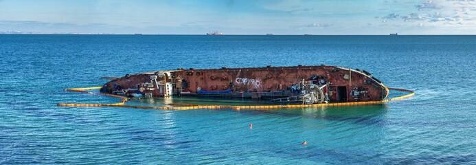 Stranded tanker off the coast of Odessa, Ukraine