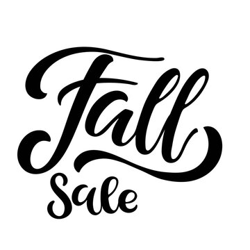 Autumn Sale lettering. Vector calligraphy. Handwritten text. Lettering for fall season shopping. Typography sing. Vector Background. For card and poster, sale billboard and sign, banner and badge.