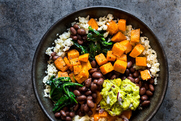 Cauliflower Rice Vegetable Bowl with black beans and sweet potato
