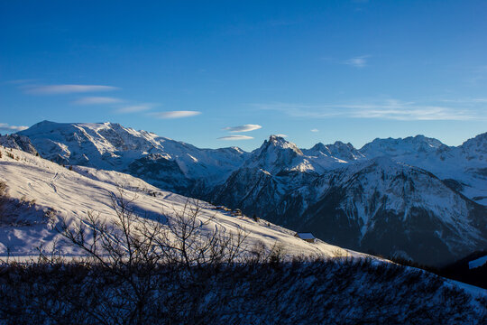 View of Mountains above Champagny en Vanoise, French Alps