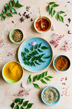 Culinary spices and herbs with curry leaves
