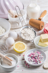 Baking ingredients for Christmas cookies, cupcakes or sweet pie