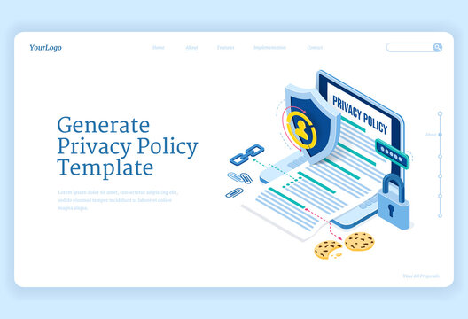 Privacy policy isometric landing page, data protection, digital security, personal confidential information online safety. Laptop with generated template, shield and lock 3d vector line art web banner