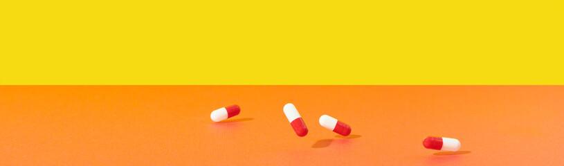 Medicine Capsules Falling