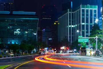 Seoul, South Korea - August 16, 2015: Night view near City Hall of Seoul - South Korea