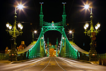 Budapest, Hungary - January 30, 2017: Eastern side of Freedom Bridge connecting Buda and Pest across Dunabe River in Budapest, Hungary