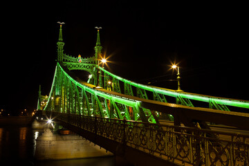 Western side of Liberty Bridge connecting Buda and Pest across Dunabe River in Budapest, Hungary