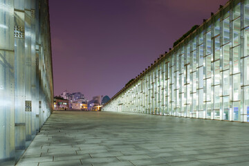 SEOUL, SOUTH KOREA - MARCH 28, 2017: Night shot of underground library of the Ewha Womans University - Seoul, South Korea, March 28 - 2017