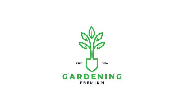 shovel and plant leaf flower garden line logo design agriculture