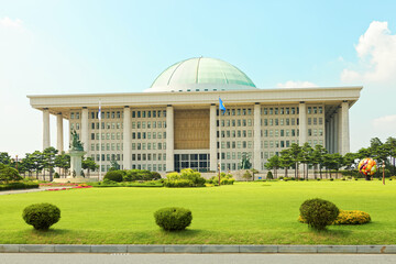 SEOUL, KOREA - AUGUST 14, 2015: National Assembly Proceeding Hall - South Korean capitol building- located on Yeouido island - Seoul, South Korea