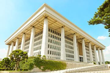 SEOUL, KOREA - AUGUST 14, 2015: Main entrance of National Assembly Proceeding Hall - South Korean capitol - located on Yeouido island - Seoul, South Korea