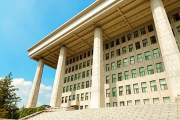 SEOUL, KOREA - AUGUST 14, 2015: National Assembly Proceeding Hall - South Korean Republic capitol - located on Yeouido island - Seoul, South Korea