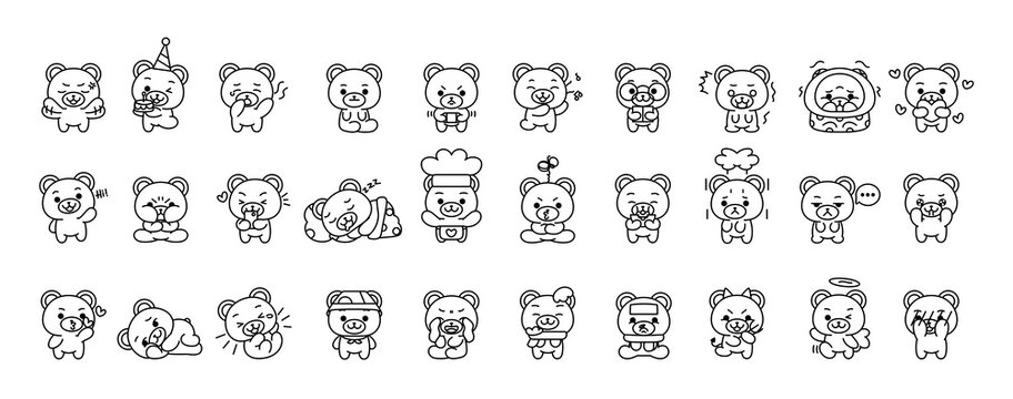 Set of bears kawaii emojis - VEctor illustration
