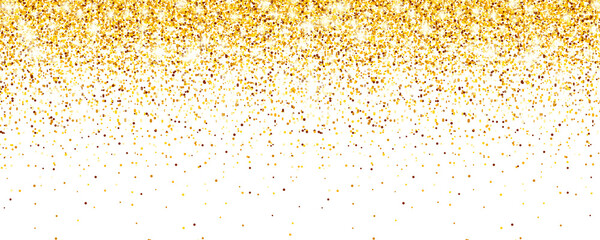 Sparkling Golden Glitter on White Vector Background. Falling Shiny Confetti with Gold Shards. Shining Light Effect for Christmas or New Year Greeting Card.