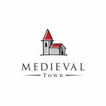 Medieval town vector logo template. Small church logo.