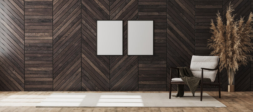 Blank poster frames mock up in empty modern room interior background with wooden decorative panel on the wall and wooden chair with blanket, living room interior background, 3d rendering