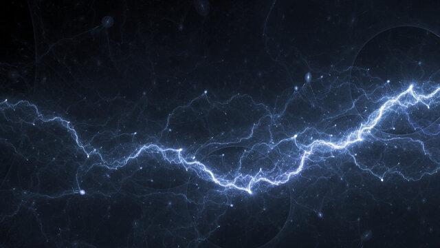 Blue lightning, plasma and electrical background