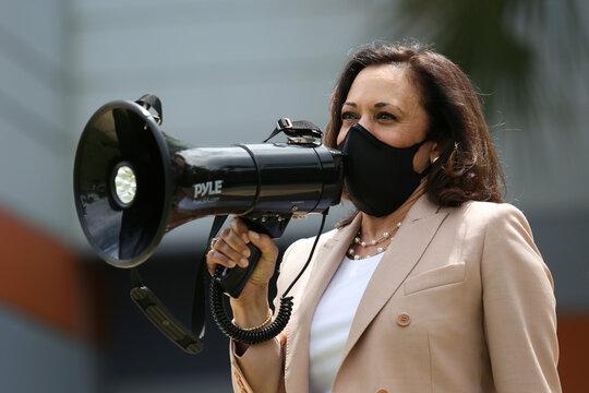 Democratic U.S. vice presidential nominee Senator Kamala Harris campaigns in Miami