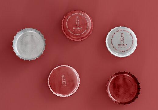 Top View of Beer Caps Mockup