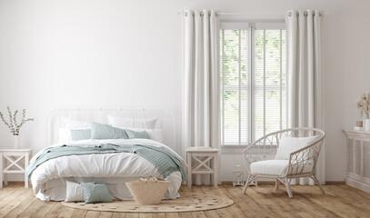 Light farmhouse bedroom interior  background, 3d render
