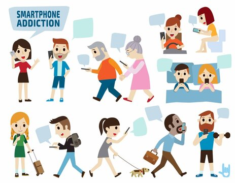smartphone addiction. bad lifestyle concept. infographic element. flat cute cartoon design illustration. isolated on white background vector