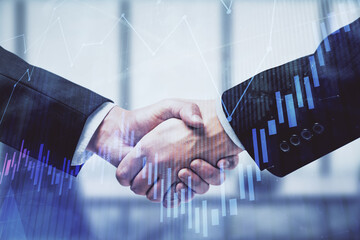 Papiers peints Fleur Double exposure of forex graph hologram and handshake of two men. Stock market concept.