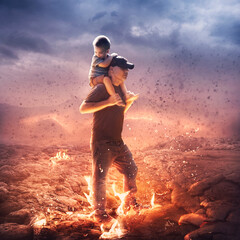 Father and son in the fire