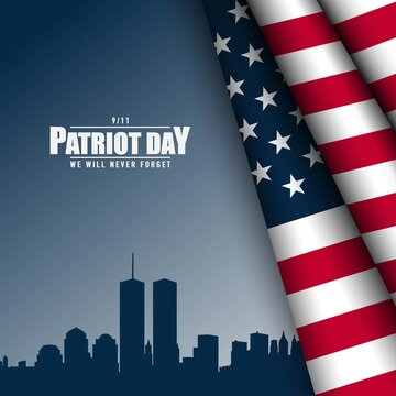 Patriot Day Background with USA Flag.