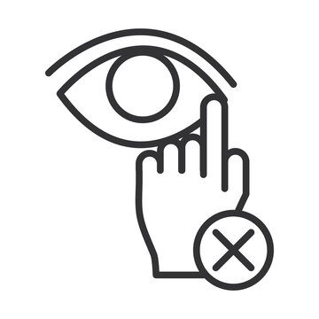 coronavirus covid19 diagnostics research, avoid touching eyes line icon design