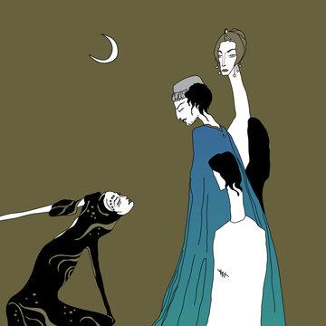 Dance of Salome. Four fantastic characters. Herod, Herodias, John the Baptist. original style art.