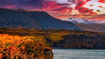 Iceland, Arnarstapi Sneffels Snæfellsjökull Iceland landscape coast