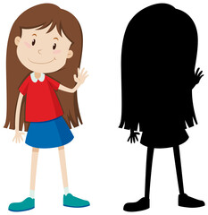 Cute long hair girl in colour and silhouette