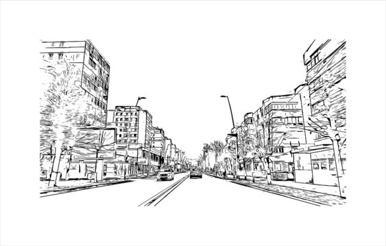 Building view with landmark of Bacau is the main city in Bacau County, Romania. Hand drawn sketch illustration in vector.
